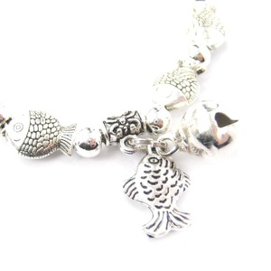 Linked Fish Parade Shaped Sea Animal Stretchy Bracelet in Silver
