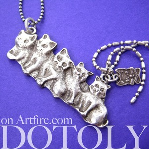 Kitty Cat Parade Cute Animal Pet Necklace in Silver