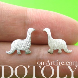 Dinosaur Shape Animal Stud Earrings in Sterling Silver