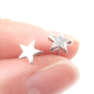 Classic Small Star Shaped Space Themed Stud Earrings in Silver