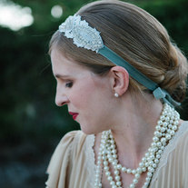 Luxe and Lace - Gorgeous Sparkling Rhinestones and Lace tie headband