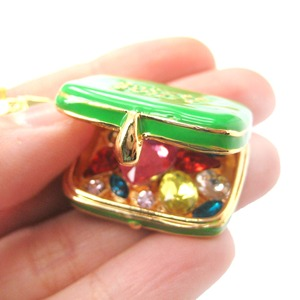 Limited Edition Suitcase Purse Shaped Locket Full of Gems Necklace in Green