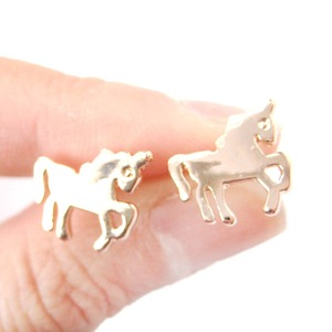 Unicorn Horse Shaped Silhouette Mythical Creatures Stud Earrings in Rose Gold