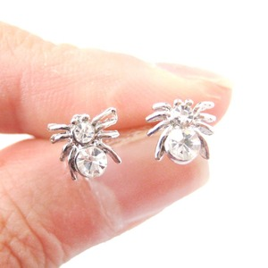 Small Tarantula Spider Insect Shaped Rhinestones Stud Earrings in Silver