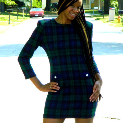 Blue and green plaid dress