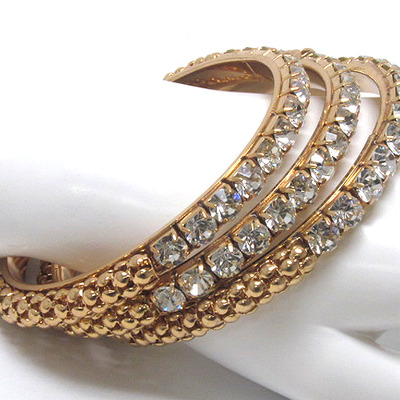 Gold crystal metal thin bangle