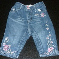 Denim Jeans with Flowers-Baby Gap Size 18-24 Months
