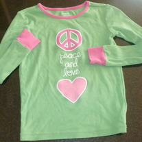 Green/Pink Peace and Love shirt-Gymboree Size 7
