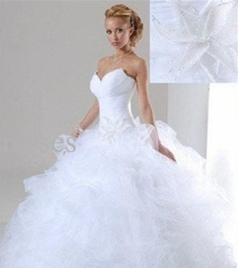 Carol 39 s playhouse white ivory sweetheart beaded organza for Wedding dress material online