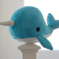 large narwhal plush toy- Ethaniel- blue soft fluffy fleece whale narwal big plushie, christmas gift