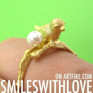 SALE - Adjustable Bird Animal Ring in Gold with Pearl Detail
