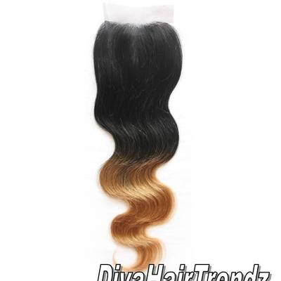"14"" black to honey blonde body wave ombre top hair closure"