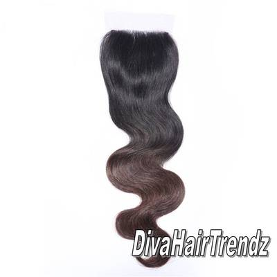 "14"" black to brown, color#4, body wave ombre top hair closure"