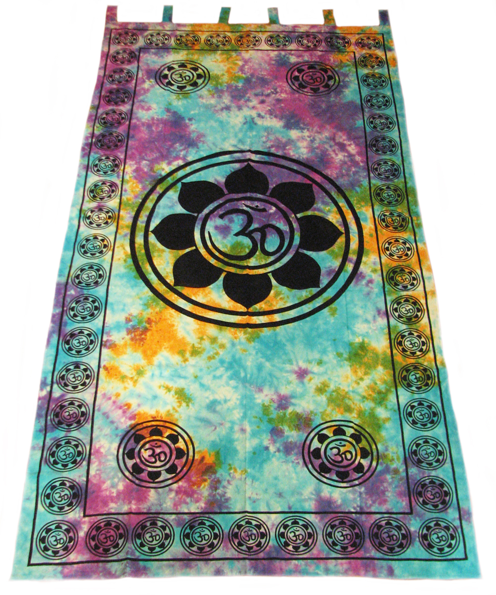 OM Aum YOGA Indian LOTUS Flower TIE DYE Hippie Wall TAPESTRY Door Window  Curtain