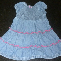 Denim Dress With Pink Stitching-Baby Gap Size 18-24 Months