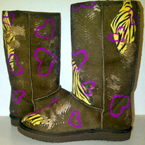 """Tough Love"" Custom Painted Ugg-Type Boots Size 2 Girls"