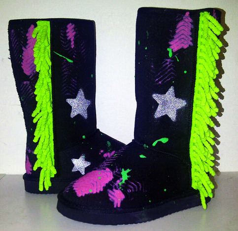 """Mary Martian"" Custom Painted Ugg-Type Boots Size 12 Girls"
