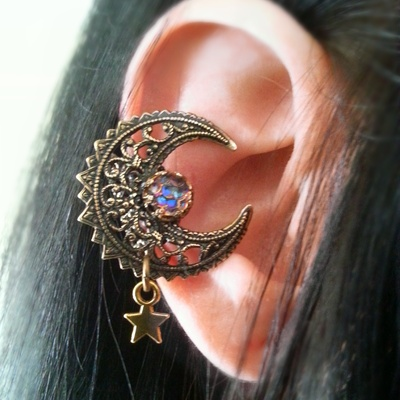 Fairy moon filigree ear cuff