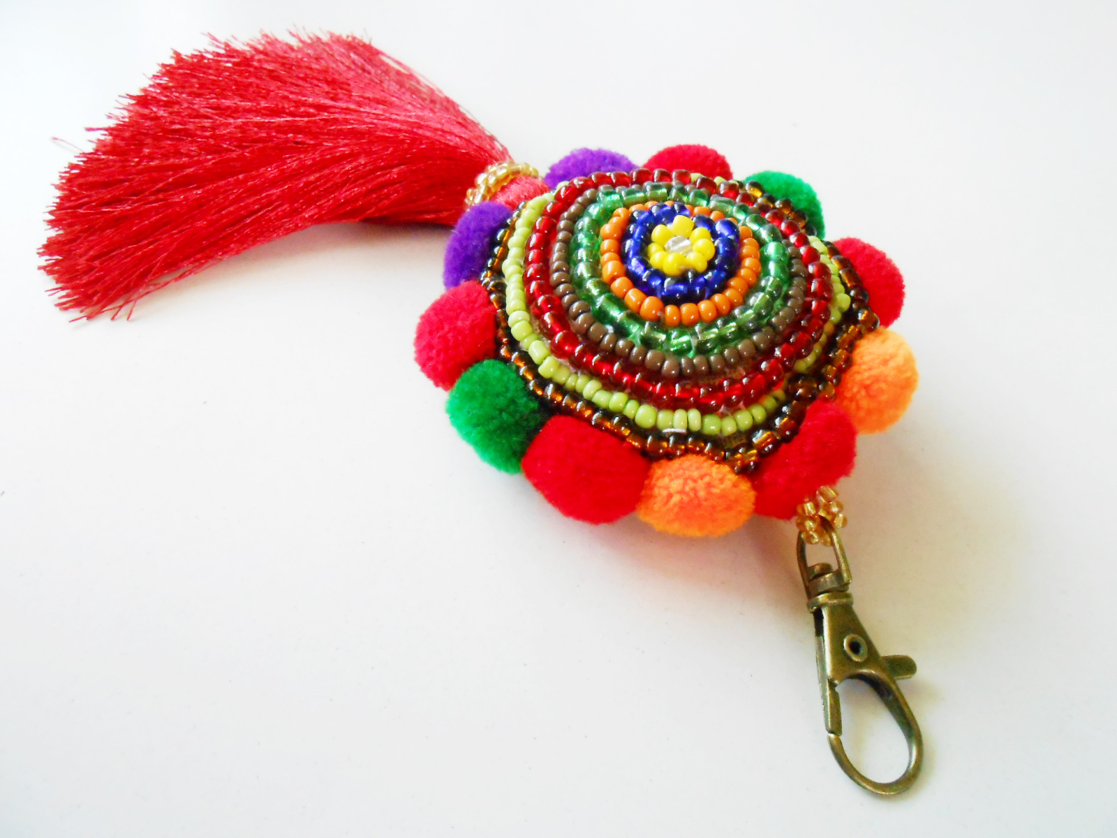 Beauty Colorful Keychain Beadwork Pom Poms And Tassel Zip Pull