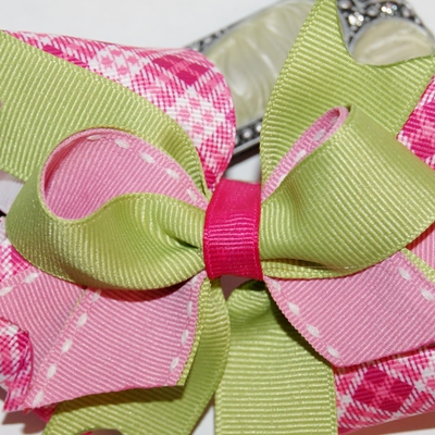 Pink and green classic boutique hair bow