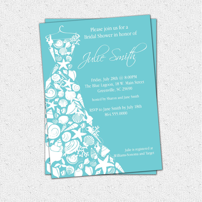 Bridal shower invitations seashell dress elegant sea shell beach bridal shower invitations seashell dress elegant sea shell beach pick your color filmwisefo