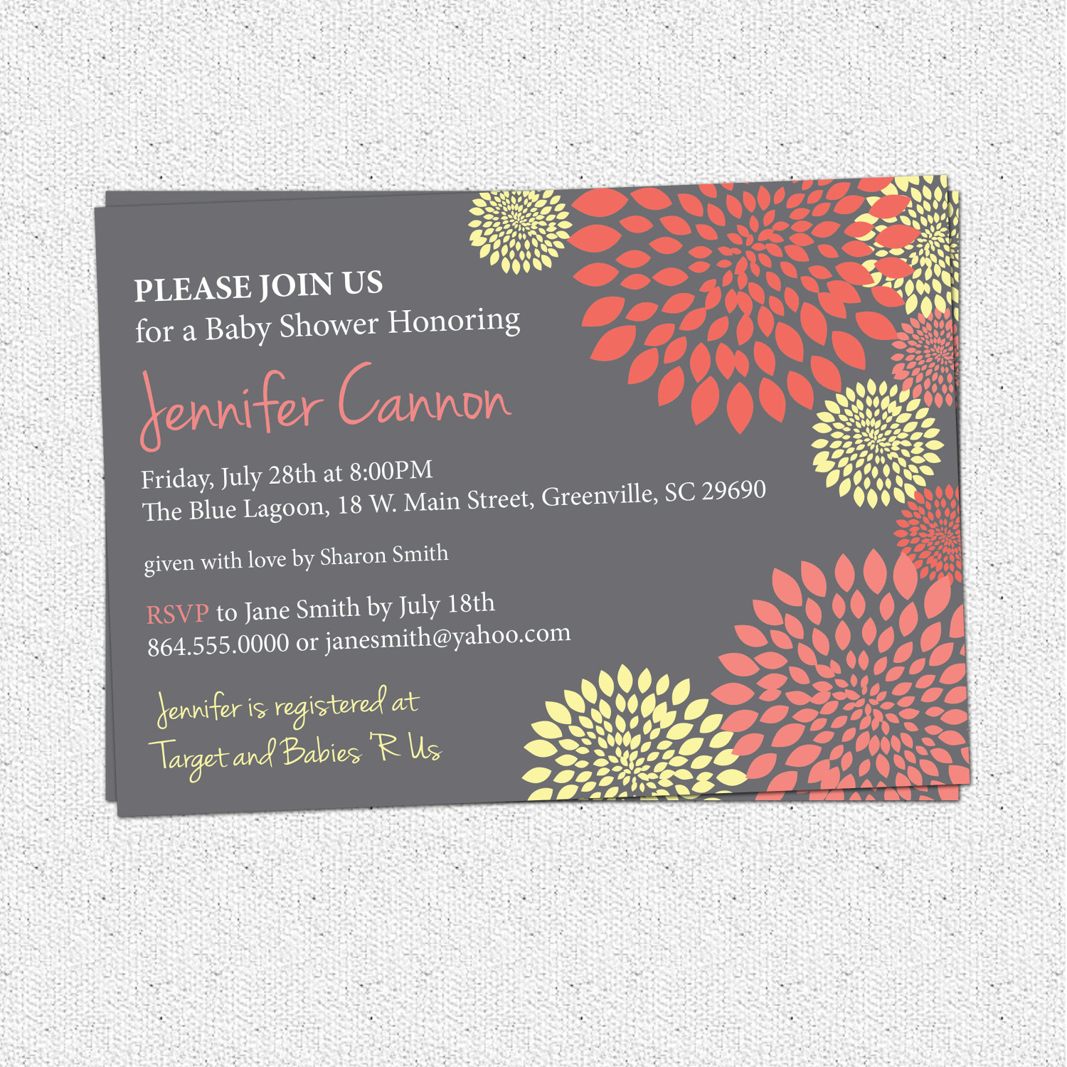 Gray And Yellow Baby Shower Invitations Part - 23: Baby Bridal Shower Invitations, Girl Coral Salmon And Pale Yellow And  Charcoal Grey Gray Floral
