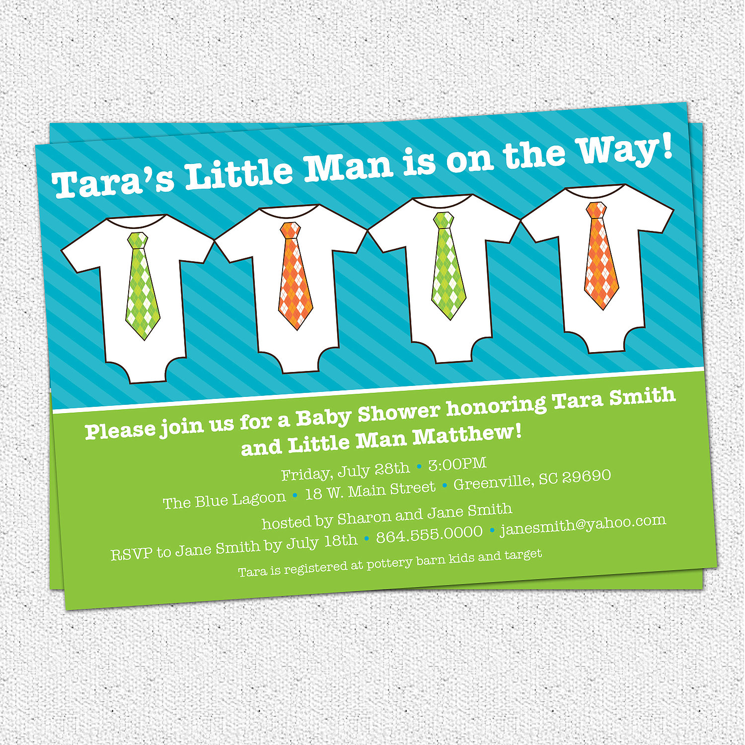 Baby Shower Invitations, Little Man, Little Guy, Bright, Lime Green ...