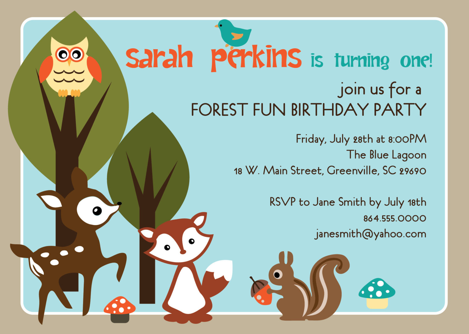 Woodland Birthday Party Invitations Animals Creatures Forest Deer
