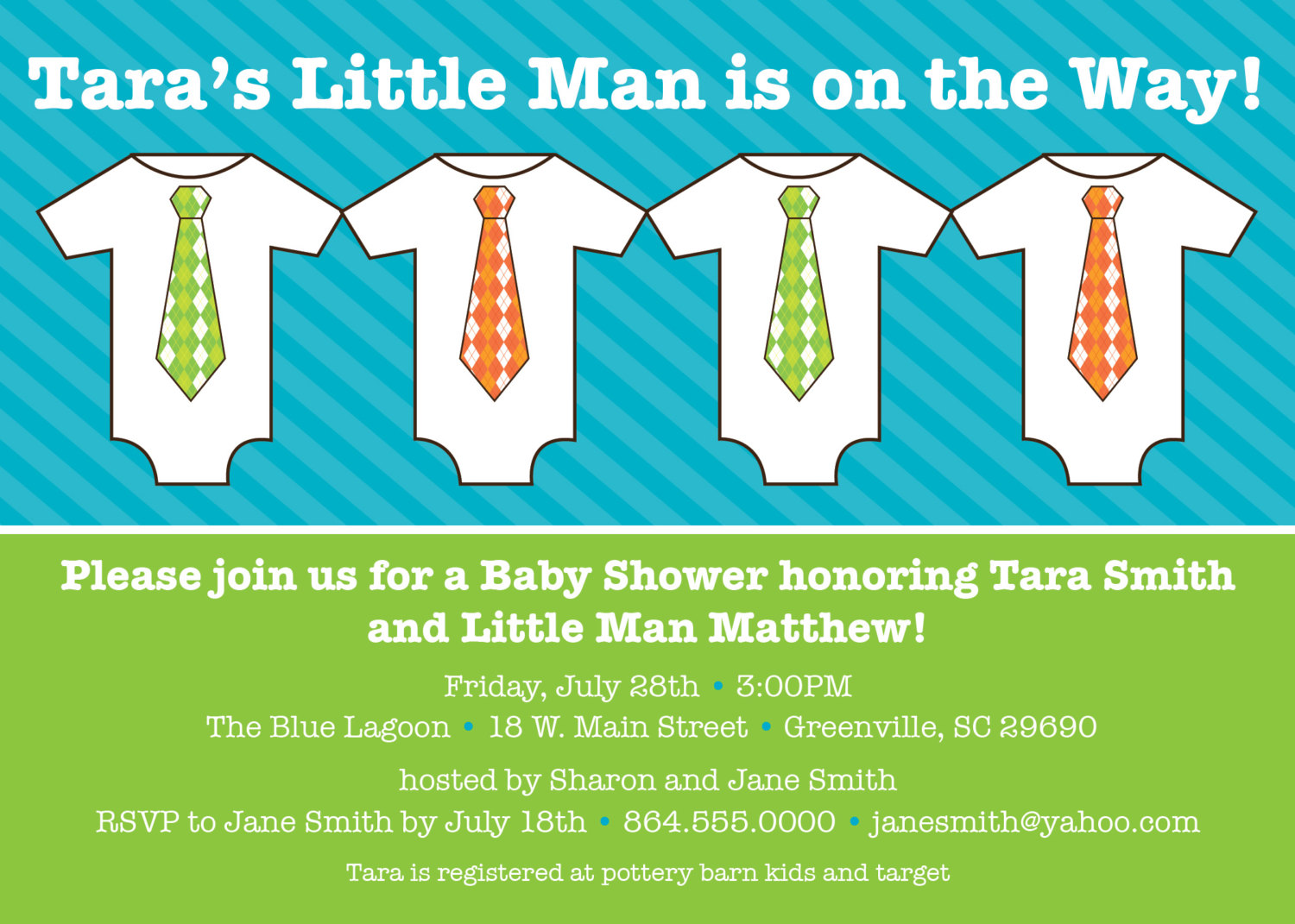 Baby Shower Invitations, Little Man, Little Guy, Bright, Lime Green, Blue
