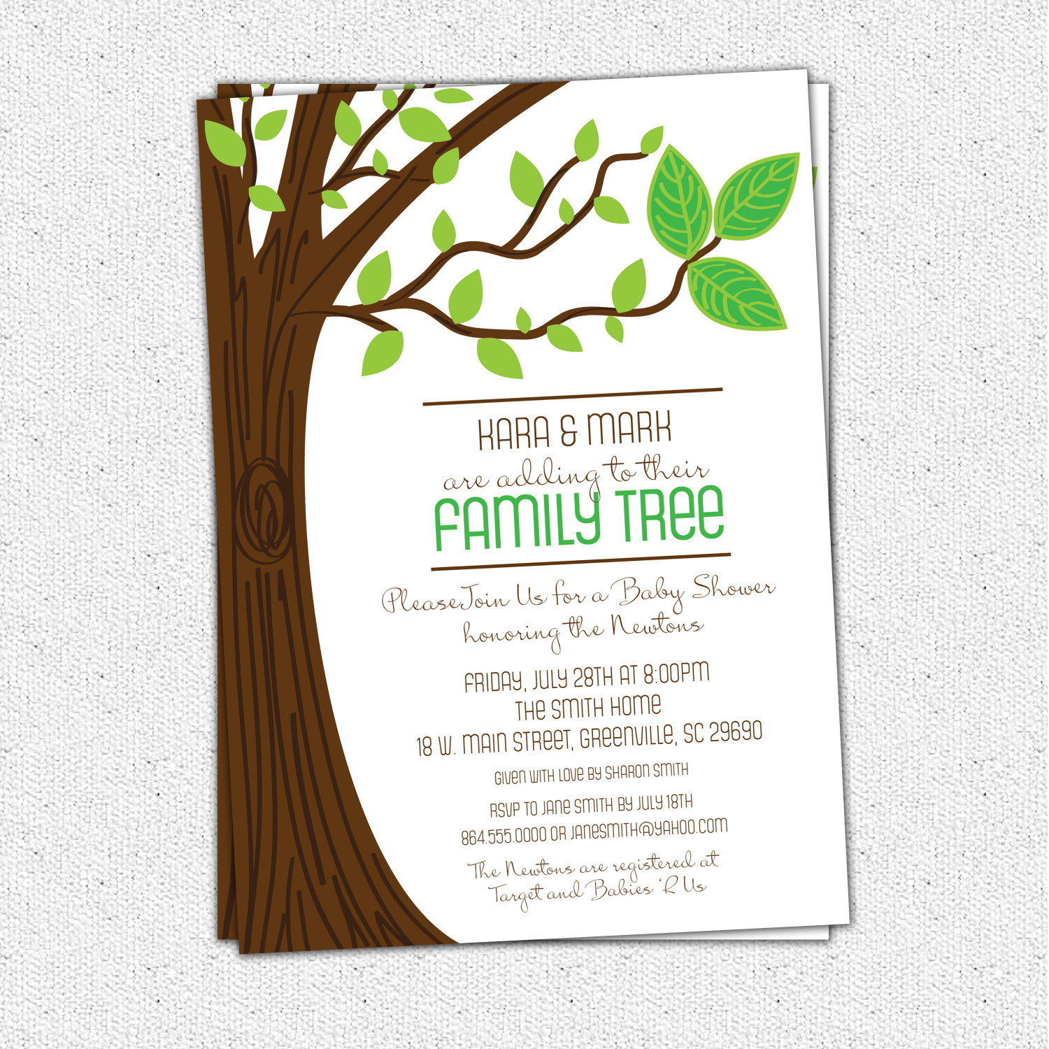 Family Tree Baby Shower Invitations Three Leaves Rustic Boy or