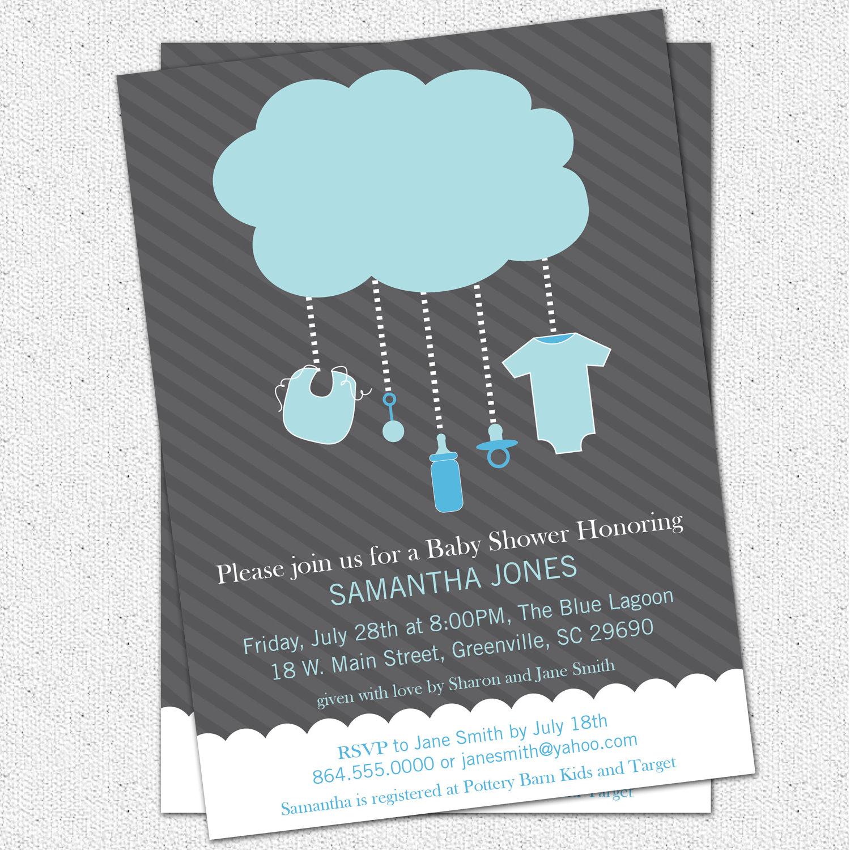 Rain cloud baby boy shower invitations light blue dark grey set of rain cloud baby boy shower invitations light blue dark grey set of 10 filmwisefo