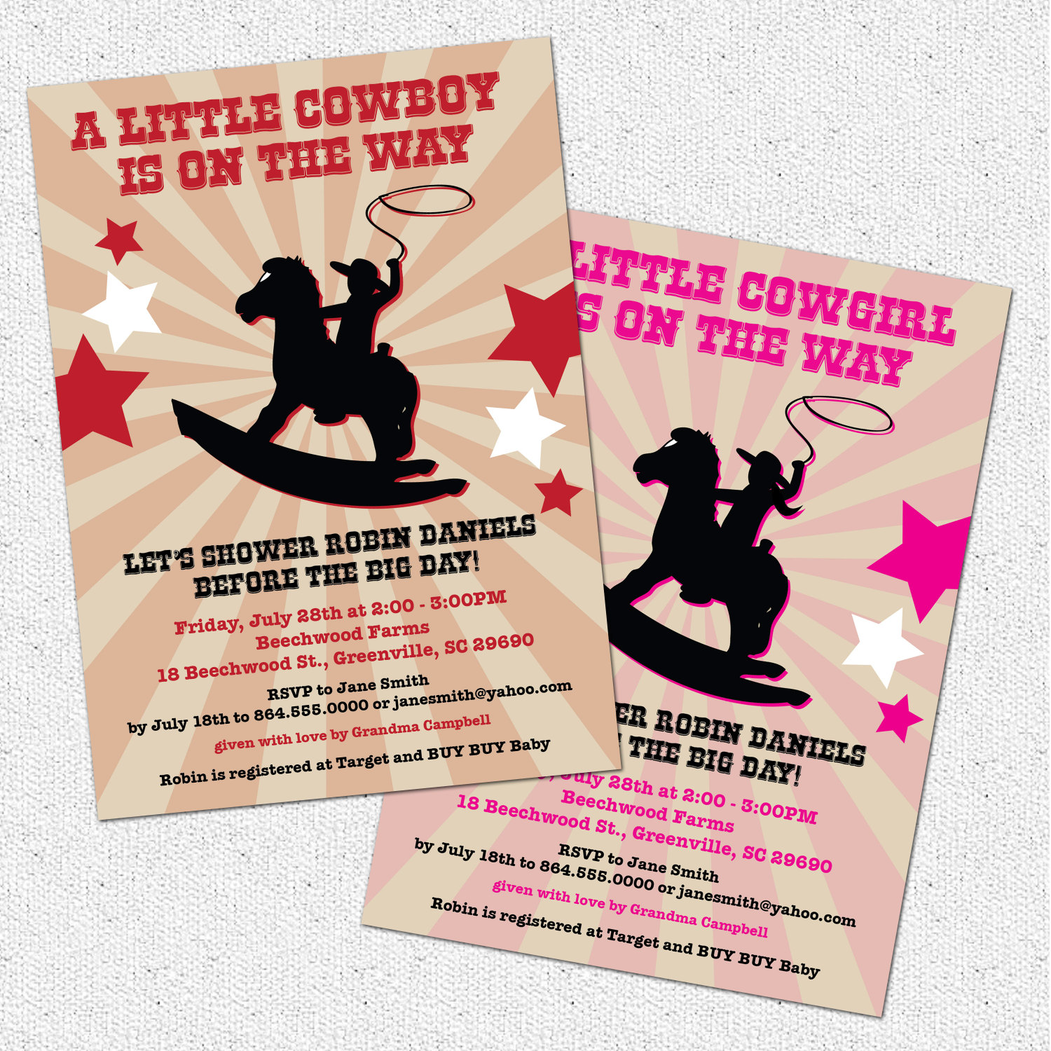 Cowboy or Cowgirl Country Western Baby Shower Invitations, Rocking ...
