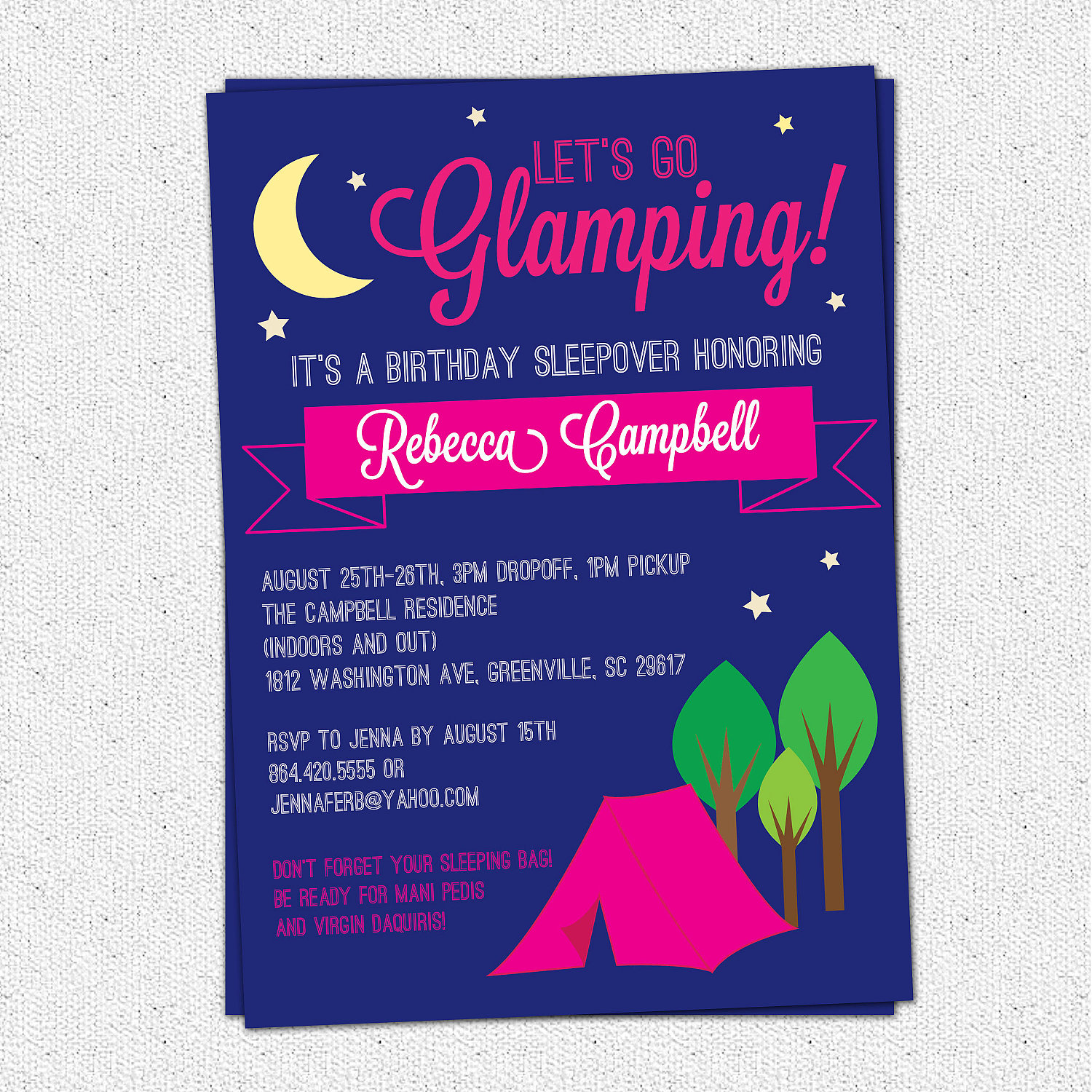 Glamping invitations glam glamour camping birthday bachelorette glamping invitations glam glamour camping birthday bachelorette girl set of 10 filmwisefo