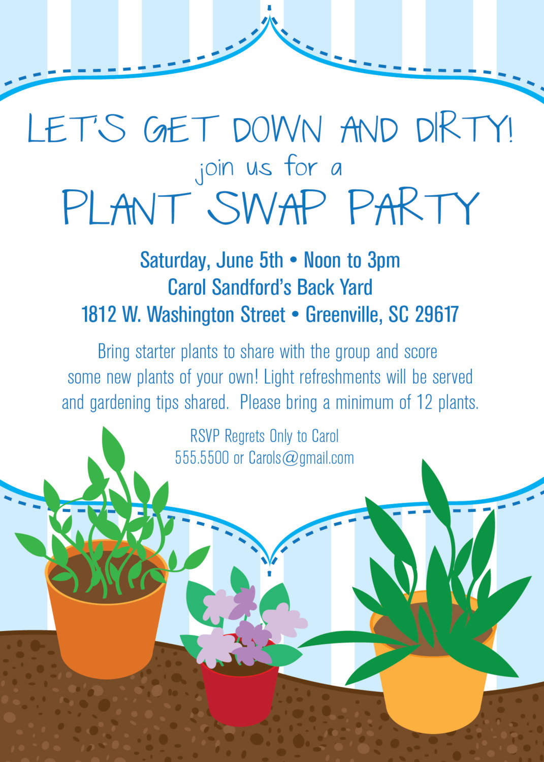 Plant Swap Invitation, Party, Plants, Gardening, Garden, SET OF 10 ...
