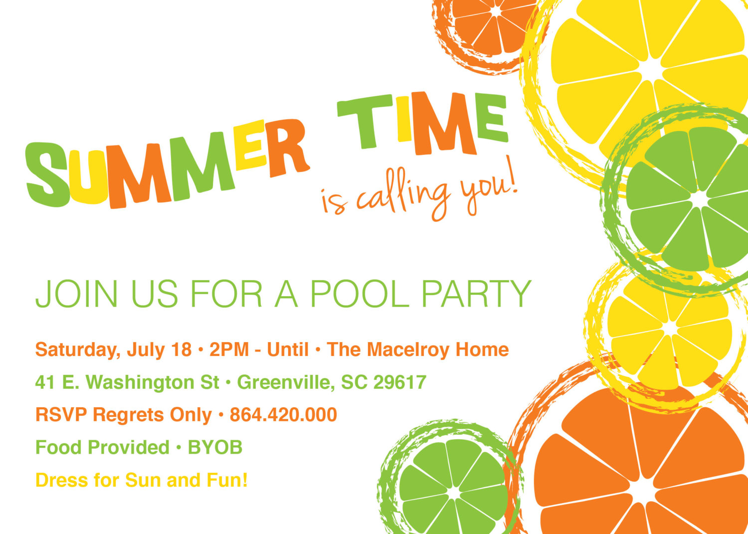 Citrus Invitations Summer Pool Party Lemon Lime