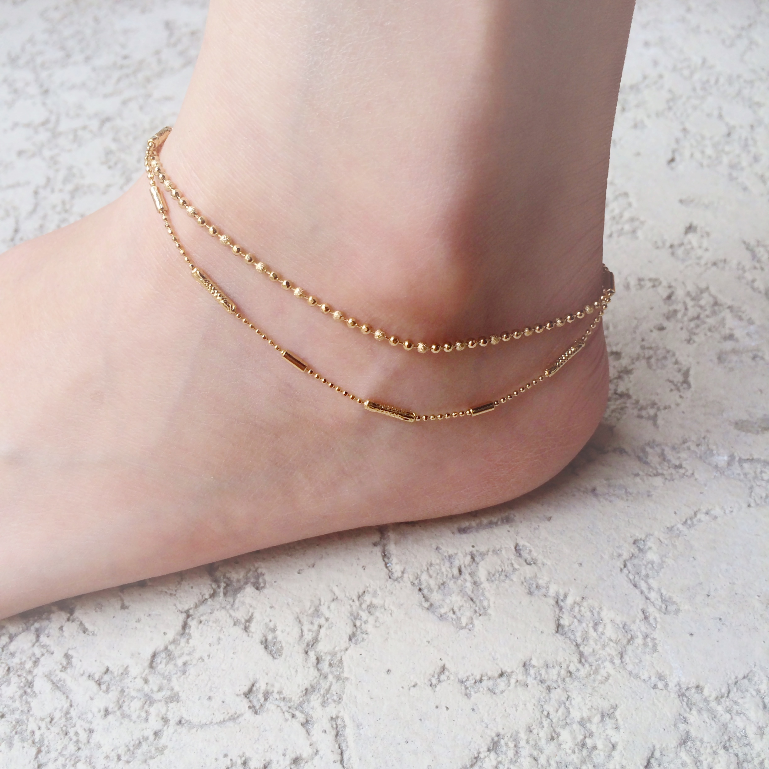 chain anklet multistrand foot pin gift birthday ankle friend bracelet jewelry beaded orange gold