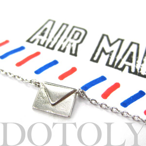 Miniature Love Letters Envelope Air Mail Necklace in Silver