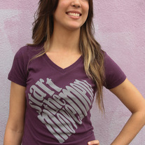 """Start the Movement"" - Women's Plum Purple V Neck"