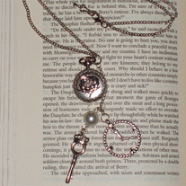 Cog Pearl Key Charms Rose Pocket Watch Clock Silver Pendant Steampunk Necklace