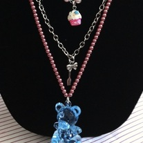 Blue Cupcake Teddy Gummy Bear Pendant Pink Pearl Multi Chain Necklace Lolita Tea Party