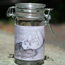 Glass Stash Jar with Winter Nude art label