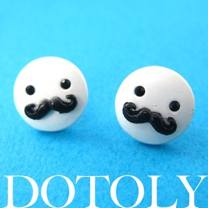 Small Round Mustache Moustache Stud Earrings in Silver ALLERGY FREE