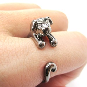 Miniature Puppy Dog Animal Wrap Ring in Gunmetal Silver - Sizes 5 to 9
