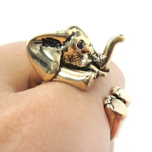 3D Baby Elephant Animal Wrap Around Ring in Shiny Gold | Size 5 to 8.5