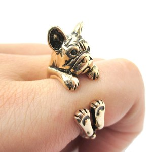 Realistic French Bulldog Shaped Animal Ring in Gold | Size 4 to 8.5