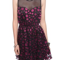 In Small or Med - Forever21 black purple polka-dot sleeveless netted round neck mini dress