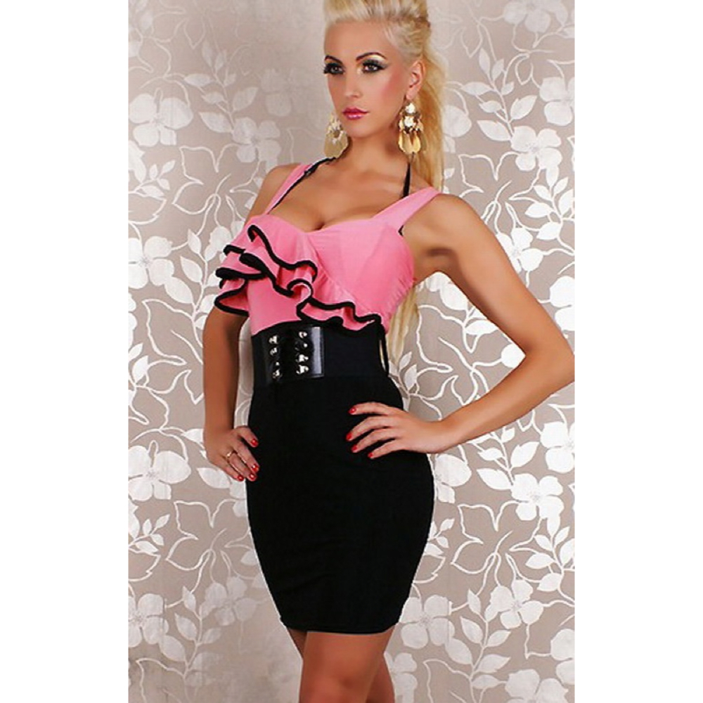 pink ruffle dress with black belt 183 4 boutique