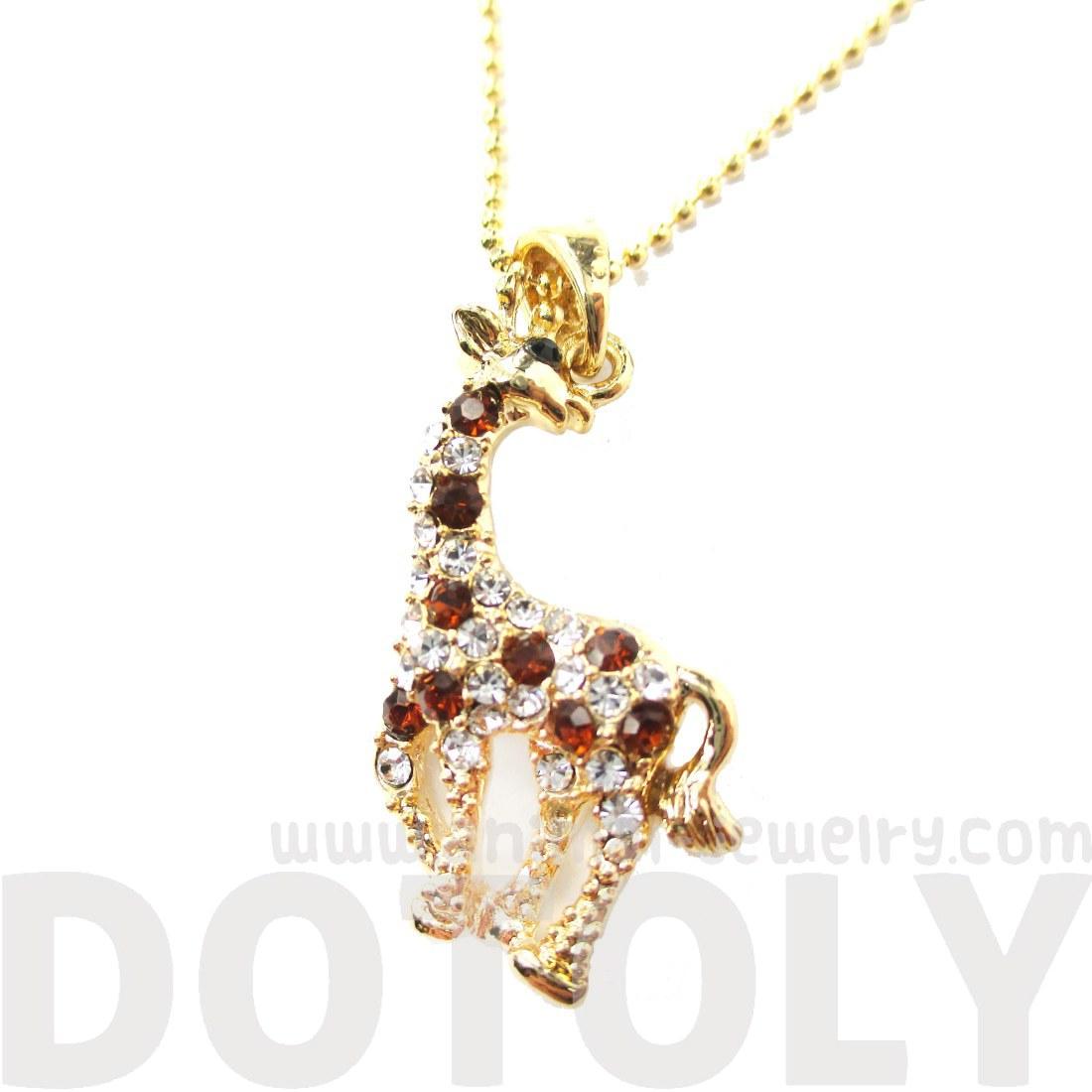classic giraffe shaped rhinestone animal inspired pendant