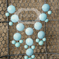 large knotiebubble necklace - aqua w/ silver
