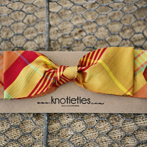 big silk knotiebow headband - plaid sunset